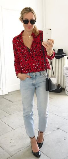 #fall #outfits women's black and red blouse