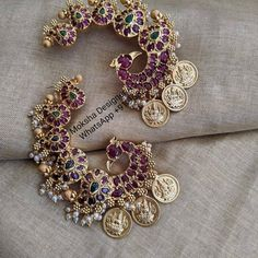 Check out these pretty peacock coin earrings by the brand Moksha designer accessories. Indian Bridal Jewelry Sets, Indian Jewelry Earrings, Ear Jewelry, Jewelry Gifts, Gold Jewelry, Jewlery, Jewelry Accessories, Women Jewelry, Antique Jewellery Designs