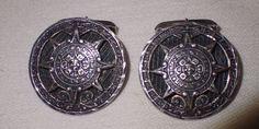 Vintage Sterling Silver 925 Mexico Aztec Calendar 16.6g Cufflinks Mens 4 Jewelry