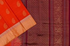 Orange soft silk with Burgundy maroon paloo. Soft Silk Sarees, Silk Thread, Burgundy, Pure Products, Orange, Fabric, Color, Tejido, Tela