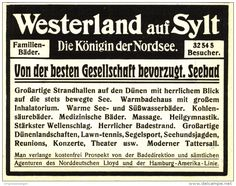 Original-Werbung/ Anzeige 1913 - WESTERLAND AUF SYLT - ca. 115 x 80 mm