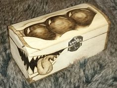 CUTEST Mimic Chest Ever! Monster Trinket / Dice Chest / box / Dnd / D&D Dungeons and Dragons / Wooden hand burned / cards / tarot