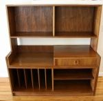 Mid Century Modern Expanding Media Bookcase Desk Unit - This is a mid century modern expanding media bookcase desk unit.  One of the coolest pieces we have had so far, this unit has a bookshelf hutch with adjustable shelves, a desk, or a record player with slats on the bottom for files or records.  There are also bottom shelves and a drawer.  This unit expands to fit your spacial needs. *SOLD*