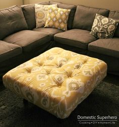 This ottoman is made from a scrap pallet and upholstered and tufted to make this awesome ottoman! All for $70!!!