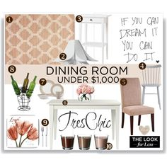 Dining Room for under $1,000 by vkevans on Polyvore featuring interior, interiors, interior design, home, home decor, interior decorating, Carolina Chair, Powell, Normann Copenhagen and World Market