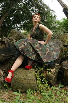 Little Camo riding hood by grafik-fashion on deviantART Camo Fashion, Work Uniforms, Military Girl, Army Uniform, Red Shoes, Camouflage, Favorite Color, Vintage Dresses, Vintage Inspired