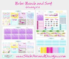 NEW!! Boho Beach and Surf collection at www.StickAroundDesigns.com. Six Sheet Weekly Set. Free shipping within the U.S.