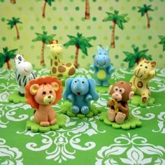 Baby Animals. Safari animals cake topper. Jungle por MimosasDesigns