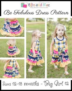 The Be Fabulous Dress Pattern by Ellie and Mac has released! Through Sept. this pattern can be all yours at a low introductory price! When you add it to your cart it discounts and additional … Dress Sewing Patterns, Baby Patterns, Pattern Dress, Sewing Ideas, Sewing Projects, Toy Story, Diy Clothes Tutorial, Ellie And Mac, Scalloped Skirt