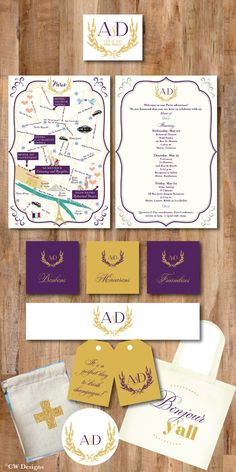 Purple & Gold Map Day of Itinerary Welcome Note by cwdesigns2010