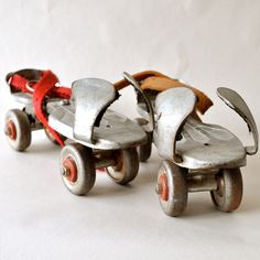 Roller skates that you hooked on your shoes.  Wore those wheels out.