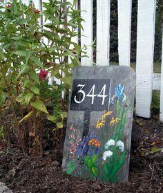 Original Garden Art on Slate Shingle. An adaption of my mailbox sign. Slate Art, Slate Rock, Painted Slate, Painted Rocks, Garden Deco, Garden Art, Slate Shingles, Slate Signs, Stencil Art