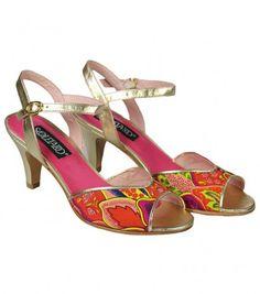 """Sandales à talon cuir or et """"Plumes"""" rouge - Chaussures - Accessoires • Souleiado - Mode femme et art de vivre provençal"""