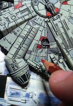 Star Wars Ships, Star Wars Art, Lightsaber Parts, Maquette Star Wars, Millennium Falcon Model, Paint Themes, Star Wars Painting, X Wing Miniatures, Star Wars Design
