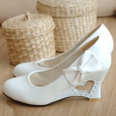 Wholesale NEWEST womens fashion sheos bow High-heel 7cm white Wedding shoes Student shoes size US(3,4,5,6,7,8), Free shipping, $28.89-34.0/Piece   DHgate