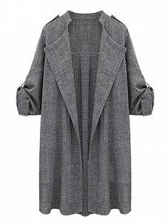 Dark Gray Lapel Roll Up Sleeve Open Front Trench Coat