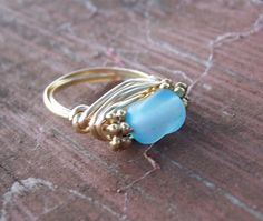 beach glass ring.....I want this!!!!  @Mary Kennedy.....I have some beach glass I've collected!  :)