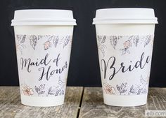 Free printable: Bride and Maid of Honor Coffee Cup Sleeve Wraps  {Ellinee}