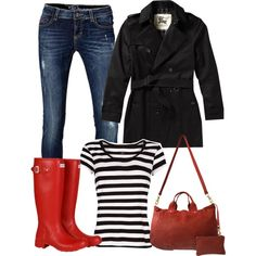 Hate the boots but LOVE the rest of the outfit.  Fall fashion 2013 - featuring Hunter red boots