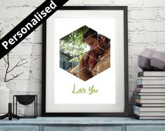 Hexagonal Personalised Baby or Child's Picture, Personalised Nursery Decor, Custom Name Art Print, Children's Art, Baby Gift, Baby Name - pinned by pin4etsy.com