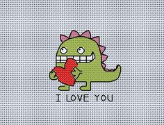 Quick stitch card monster valentine cross stitch pattern pdf sent to you by email