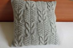 Pillow Cover Cable Knit Silver Gray Hand Knit by Adorablewares