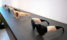 Emma Montague made these stylish but slightly creepy sunglasses. They're constructed using real deer jaws, black horn and acetate. Montague was inspired by the relationship between the shape of the jaw bone and sunglasses. Crazy Sunglasses, Creepy, Glasses Case, Couture, Sunnies, Bones, Eyewear, Cool Designs, The Incredibles