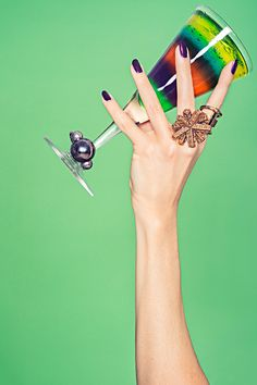 """The Piece Of Statement Jewelry That Says, """"Let's Drink!"""" #refinery29  http://www.refinery29.com/statement-cocktail-rings#slide4  Oscar De La Renta Russian Gold Amenone ring, Lady Grey Channel ring."""