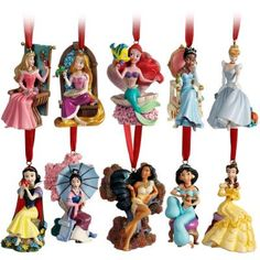 Disney Christmas Tree Little Mermaid Rapunzel Jasmine Mulan Princess Ornaments… Disney Girls, Disney Love, Disney Magic, Disney Stuff, Disney Disney, Disney Theme, Disney Family, Pocahontas, Deco Disney