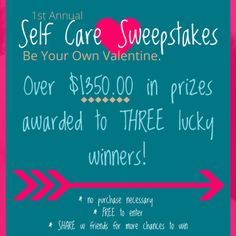 Winner Announced Wednesday!! — So, we've been getting great feedback on the first annual self-care sweepstakes and I wanted to remind you that you have until Tuesday to enter.  There are only a few more days and a few more chances to win over $1350 in life coaching services and prizes.  Don't forget, when you share the sweepstakes with a friend, and they enter, that increases your chances of winning!   Share share share!!! 👈👈👈  Be your own valentine.   ❤, Katie