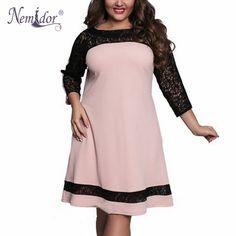 Nemidor 2017 Spring Women Plus Size 3/4 Sleeve Slim Lady Casual Dress Elegant Lace Patchwork Knee Length Swing Dress