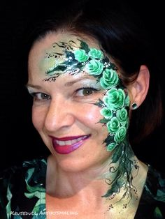Green roses face paint Face Paintings, Green Rose, Flowers Nature, Paint Ideas, Body Painting, Body Art, Roses, Make Up, Inspiration