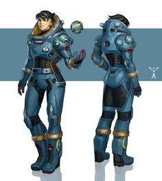 ArtStation - Blue Space Suit Design, Fred Augis