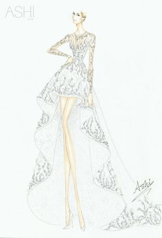 Ashi Wedding Dress for Whitney Port Wedding Dress Sketches, Dress Design Sketches, Fashion Design Sketchbook, Fashion Design Drawings, Designer Wedding Dresses, Illustration Mode, Fashion Illustration Sketches, Fashion Sketches, Fashion Art