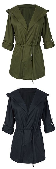 Cool feeling from this coat, $29.99! Short Shipping Time! Easy Return + Refund!  Not only will the hooded solid color coat put a smile on your face, it'll also show off your fabulous style sense! Join us now at Cupshe.com