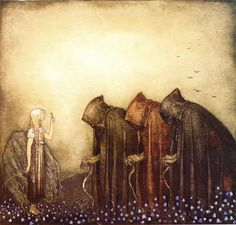 John Bauer. I live this rendition, with The purple Flowers, and The differently coloured cloaks