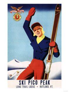 POSTER 1948 WINTER SPORT PICO PEAK VERMONT SKIING COUPLE VINTAGE REPRO FREE S//H