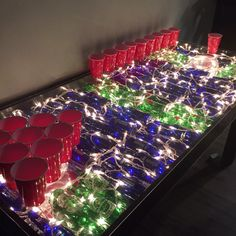 The coolest college beer pong table. It even has fish bowls inside! Beer Pong Tables, Dorm, Bowls, Christmas Tree, College, Classroom, Fish, Cool Stuff, Holiday Decor