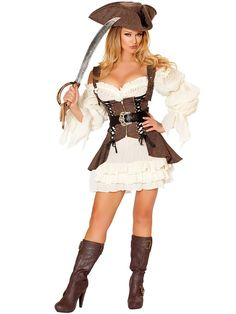 Women's Sexy Naughty Ship Wench Costume | Cheap Pirate Halloween for Adults