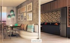 Somos adeptos de projetos de apartamentos com divisórias entre ambientes muito bem aproveitadas, como esta parede que divide a sala de jantar da cozinha: ela se tornou o ponto focal da sala, com composição de quadros de molduras com formatos diferenciados #camilakleinarquiteta #saladejantar #cozinha #moldura