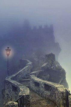 Castle in the mist - Fortress of Guaita, San Marino republic, Italy