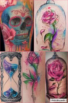 Beauty and the beast Rose, skulls n roses and hourglass tattoo ideas to incorporate in building my sleeve