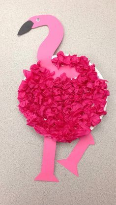 Flamingo craft. Paper plate, tissue paper Created by Tara