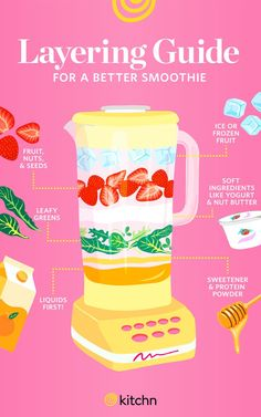 A Layering Guide to a Better Smoothie I always put the ice first! Turns out I was doing it wrong… Karianne A Layering Guide to a Better Smoothie Best Smoothie Blender, Blackberry Smoothie, Smoothie Detox, Smoothie Prep, Fruit Smoothie Recipes, Apple Smoothies, Good Smoothies, How To Make Smoothies, Ninja Blender Smoothies