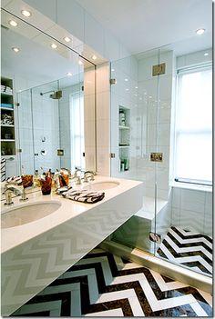 Love love love the chevron tile floor @Lisa Sander rlike chevron tile pattern and shower door/glass (not sure where I found it, something Christina Murphy)