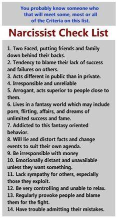 #narcissist -check-list #psychology #lifecoaching