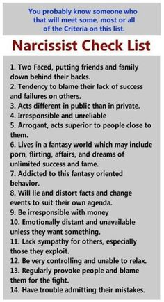 Manipulators and narcissist check list