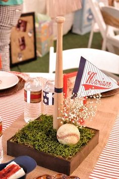 Baby Shower Centerpieces For Boys Baseball Bar Mitzvah Ideas For 2019 Baseball Centerpiece, Sports Centerpieces, Baby Shower Centerpieces, Centerpiece Decorations, Baseball Party Decorations, Centrepiece Ideas, Graduation Decorations, Baseball Theme Birthday, Sports Birthday