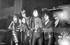 Eric Carr, Paul Stanley, Ace Frehley and Gene Simmons of the rock and roll band 'Kiss' during a press conference on October 28, 1982 in Los Angeles, California.