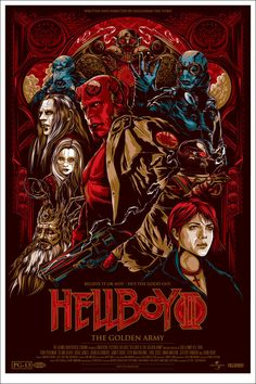 Beautifully designed Hellboy II poster by Melbourne based illustrator and designer Ken Taylor, for the Alamo Drafthouse @ Mondo. Magnifique poster de Hellboy II par l'Australien Ken Taylor, pour l'Alamo Drafthouse chez Mondo. via OMG Posters Omg Posters, Best Movie Posters, Cinema Posters, Movie Poster Art, Film Posters, Fan Poster, Poster Drawing, Hellboy Movie, Hellboy Comics